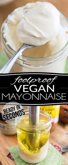 Stop spending crazy amounts of money on Vegenaise and other overly expensive store-bought Vegan Mayonnaise; make your own at home in mere seconds with only 4 simple ingredients; This technique is so quick and easy and produces such a rich, thick and Vegan Sauces, Vegan Foods, Vegan Dishes, Paleo Diet, Whole Foods, Whole Food Recipes, Cooking Recipes, Dinner Recipes, Dinner Ideas