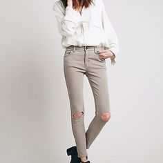 Free People Destroyed Skinny Jeans Free people stretchy skinny jeans in the color steel.  » Offers through the offer button  » Bundling discounts available  » No trades » NWT Free People Jeans Skinny