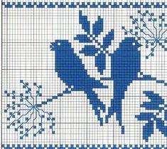 Cross stitch pattern, two birds one color Cross Stitch Bird, Counted Cross Stitch Patterns, Cross Stitch Charts, Cross Stitch Designs, Tapestry Crochet Patterns, Intarsia Patterns, Hand Embroidery Patterns, Yarn Bombing, Crochet Birds