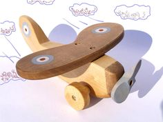 Wooden Toy Plane eco friendly natural kids toy. $23.00, via Etsy.