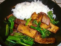 Hunanese Smoky Bacon with Bean Curd and Broccolette
