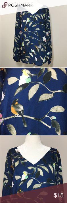 {Zara} Navy bird print blouse . Zara Tops Blouses