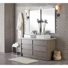 Home Decorators Collection Lawrence 60 in. W Vanity in Weathered Grey with Marble Vanity Top in White with White Basins