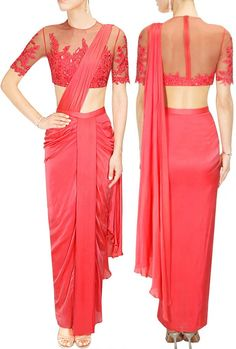 Medha Batra's Red Sheer Floral Embroidered Elbow Sleeve Saree Blouse..  #Red #Sheer #Designer #MedhaBatra
