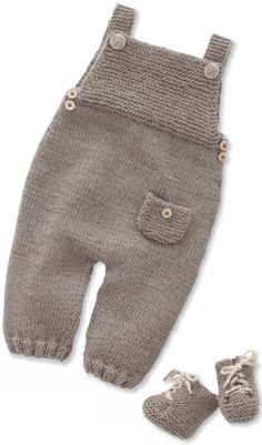 Children's overalls, and booties, knitting