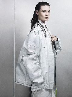 Come As You Are - Maison Martin Margiela cotton and acetate jacket. Céline lambskin shirt. J.W. Anderson polyester and nylon skirt.