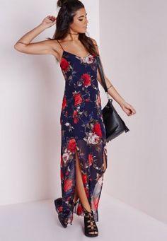 Robe longue fendue en mousseline fleurie