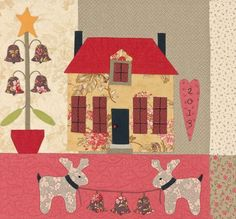 A Woodland Christmas Bunny Hill - Anne Sutton - Holiday Quilt pattern - Animal Applique Designs - Christmas Quilts - Quilting Block of the Month pattern - Shabby Fabrics