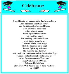Graduation poem just made me cry clayton will be out of school how about creating your printable graduation invitation using this turquoise design filmwisefo