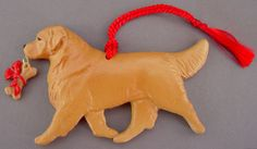 Handmade Golden Retriever dog sculpture ornament.  For Christmas or to display year round.  Other dog breeds available.  For Love of a Dog Jewelry & Gifts