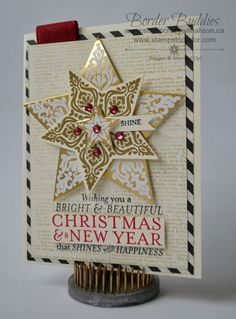 handmade Christmas card: Brightbeautifulstars .,.. luv the white embossed on shiny gold and the gold embossed on white ... delightful card!!
