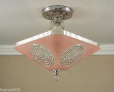 Vintage 1940 S Antique Pink Art Deco Atomic Retro Ceiling Light Lamp Fixture Ebay