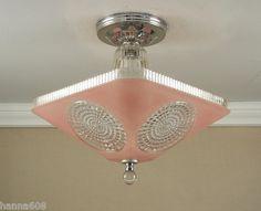 Vintage 1940's Antique Pink Art Deco Atomic Retro Ceiling Light Lamp Fixture | eBay