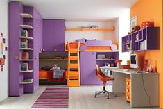 colorful kids bedroom with bunks beds and ladder - Decoist