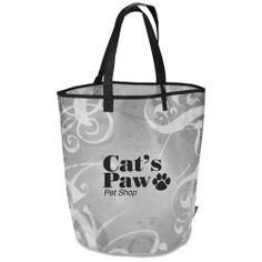 View a larger, more detailed picture of the Laminated Polypropylene Basket Tote - Swirl Custom Tote Bags, Personalized Tote Bags, Retail Supplies, Swirl Design, Cat Paws, Reusable Tote Bags, Basket, Shopping Bags, Larger