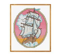 Pirate Ship Cross Stitch Pattern PDF by tinymodernist on Etsy, $6.00
