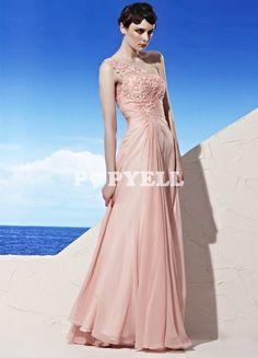 #robe #DemoiselleHonneur Robe de bal séduisante rose en chiffon à une épaule