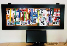 Use an old door and cork to display running bibs and race medals.