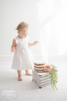 Boho Floral First Birthday Cake Smash // White on White First Birthday Cake Smash // Dublin Ohio Cake Smash @LeenaBee Photography