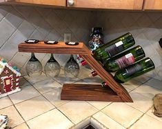 Custom made wine dispenser made from wood also take custom orders Wine Glass Holder, Wine Bottle Holders, Wine Shelves, Wine Storage, Glass Shelves, Diy Wood Projects, Woodworking Projects, Woodworking Store, Wine Rack Design