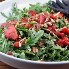 Fresh, simple and delicious! Arugula salad with Strawberries.
