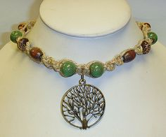 Green Forest Tree of Life  Hemp Necklace   by sherrishempdesigns