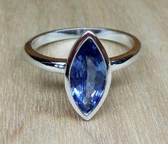 1.30ct Natural Blue Ceylon Sapphire Bezel Set 14k White Gold Unique Handmade Alternative Engagement Ring Custom Made OOAK by DiamondAddiction on Etsy