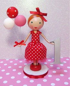 Custom Wooden Clothespin Doll Birthday Cake by enchantedbelles
