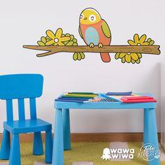 Vinilo infantil WAWAWIWA: Pájaro 1 sobre rama en invierno #vinilo #decoracion #wawawiwa #pared #infantil #habitacion #TeleAdhesivo Ramen, Home, Adhesive, Kids Rooms, Vinyls, Winter