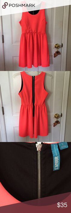 Dress L'Amour Nanette Lepore Size L Sleeveless Scuba Skater Dress in Neon Coral with Black Inside Out Zipper Perfect for Summer! Excellent Condition Size Large L'Amour Nanette Lepore Dresses