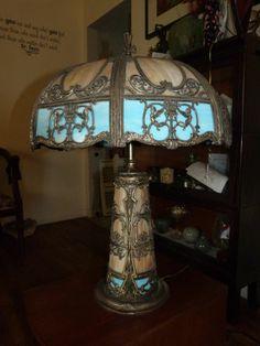 Miller Antique Slag Glass Table Lamp Handel Van Erp Tiffany Lighted Base  Stained