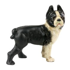 Boston Terrier is made of cast iron and hand painted  4.5 x 1.5 x 4.  From Greige.com $28.  Made to look like the antique door stoppers.