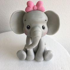 Baby Elephant Cake, Elephant Cake Toppers, Fondant Cake Toppers, Fondant Icing, Fondant Cupcakes, Cupcake Toppers, Fondant Tutorial, Fondant Elephant Tutorial, Safari Cakes