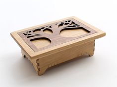 Personalized Keepsake Box - Tree of Life Design in Black Cherry Wood with Walnut Inlay Lid . Timber Green Woods