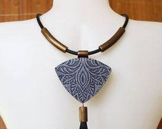 Polymer Clay Pendant Necklace Choker Blue Jewelry Cooper Ethnic Antique Roman Winter Polymer Clay Pendant Jewelry