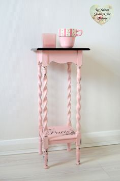 SOLD Vintage Pink Paris Stencil Bedside Table Unit Plant Stand Storage Wood Mahogany Shabby Chic by LaMaisonShabbyChic on Etsy