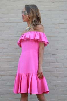 Have a Statement, Bright Summer // Affordable Statement Necklace Jewelry from Made in The Deep South // Off-The Shoulder Girly Pink Silk Rebecca Taylor Dress // Dior So Real Sunglasses // snapped by gracie