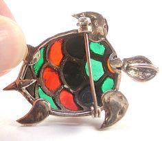 Deco Sterling Marcasites and Plique a Jour Enamel Turtle Pin