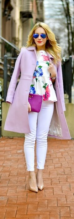 Lovely spring style: already have white pants but love the florals and pastels with it!