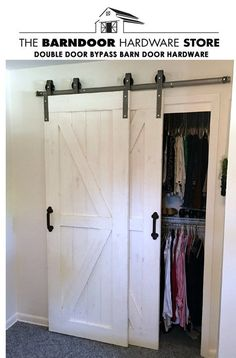 Double Door Single Track Bypass Barn Door on a Single Rail Hardware Rustic Farmhouse Track Kit P Bedroom Closet Doors, Barn Door Closet, Barn Door Track, Diy Barn Door, Hallway Closet, Barn Doors For Closets, House Doors, Master Closet, Garage Doors