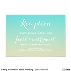 Tiffany Blue Ombre Beach Wedding Reception Card