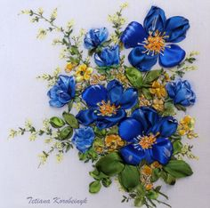 "picture ""Flower arrangement."",  Silk ribbon embroidery"
