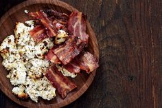 Grilled ricotta  with bacon crisps