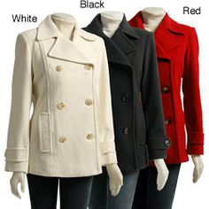 I want this in white!!!  AK Anne Klein Women's Double-breasted Pea Coat