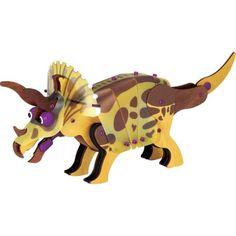 """Dinosaurus Triceratops om in elkaar te zetten, van natuurlijk hout. Gepatenteerd """"Flex-Lock""""-systeem dat de poten, de ogen enz. laat bewegen.  Veilige, niet-giftige waterverf.  Speciaal bouwsysteem voor een stevige en veilige montage zonder lijm of gereedschap."""