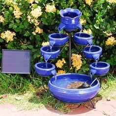 Double Tier Cascade Solar Outdoor Garden Water Fountain Blue