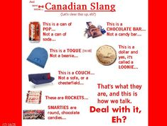 Canadian Slang. Oddly, in my little corner of Canada, we call it soda, NOT pop. But the rest of it, yeah, all true :)