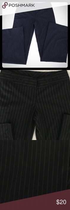 Pinstripe dress pants Adorable black with white pinstripe dress pants. Comfy fit, 4 decor pockets, nice wide opening in legs, great with a cute heal or boots. *dry clean only* paper & design Pants Trousers