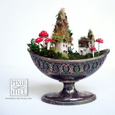 Tiny Fairy Town in a Tarnished Dish by PixieHillStudio