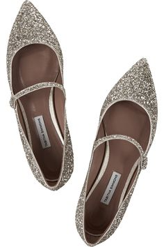 FLATS | Tabitha Simmons, Hermione glittered leather point-toe flats